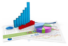 Financial data. Three-dimensional charts and financial documents on white background Royalty Free Stock Photo