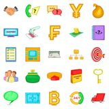 Financial day icons set, cartoon style. Financial day icons set. Cartoon set of 25 financial day vector icons for web isolated on white background Royalty Free Stock Photos