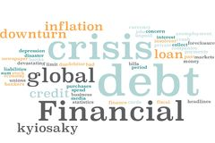 Financial debt word cloud royalty free stock photo