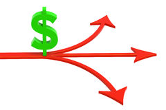 Financial Decision. 3D rendered illustration of dollar sign standing in red arrow crossroads Royalty Free Stock Photo