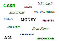 Financial decisions: banking, investing, taxes, etc... Colors: multicolored stock illustration