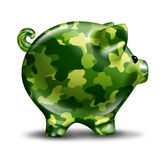 Financial Defence Protection. With a tough military camouflage painted piggy bank as a finance symbol of security trust and insurance from thieves and business Royalty Free Stock Photos
