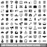 100 financial department icons set, simple style Royalty Free Stock Photos