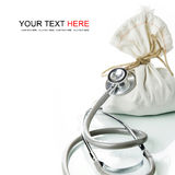 Financial Diagnostic. Stethoscope with money bag, The concept of financial diagnosis Stock Photography