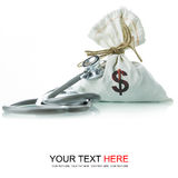 Financial Diagnostic. Stethoscope with money bag, The concept of financial diagnosis Royalty Free Stock Image