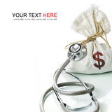 Financial Diagnostic. Stethoscope with money bag, The concept of financial diagnosis Stock Photo