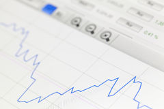 Financial diagram. Financial graphic chart on digital display Stock Images