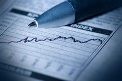 Financial diagram. In a newspaper Stock Photos