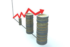 Financial diagram of euro coins on wite background Royalty Free Stock Photography