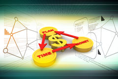 Financial diagram with gold coin. In color background Royalty Free Stock Photography