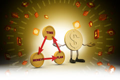Financial diagram with gold coin. In color background Royalty Free Stock Photo