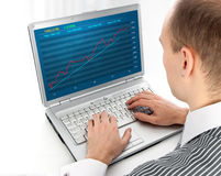 Financial diagram on a monitor Stock Photo
