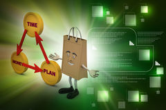 Financial diagram with shopping bag. In color background Stock Photography