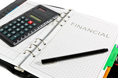 Financial diary with clipping path and pen Royalty Free Stock Images