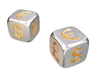 Financial dices. 3d model of metal dices Royalty Free Stock Photos