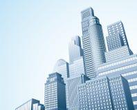 Financial distrait urban city scape. Illustration of urban skyscraper skyline of office blocks Stock Photos