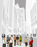 Financial district. Business and office people in financial district. Downtown vector illustration Stock Photo