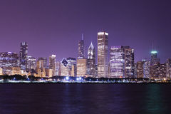 Financial district. (night view Chicago Royalty Free Stock Photos