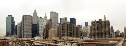 Financial District. Overview of the financial district of Manhattan from the Brooklyn Bridge Stock Photos