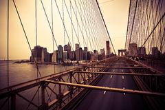 Financial District from the Brooklyn bridge. View of the Financial District from the Brooklyn bridge, New-York Stock Photo
