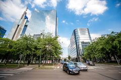 Financial district in Brussels city. BRUSSELS, BELGIUM - June 01, 2017: CItyscape view on the financial district on the Roi Albert boulevard in Brussels Stock Images