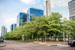 Financial district in Brussels city. BRUSSELS, BELGIUM - June 01, 2017: CItyscape view on the financial district on the Roi Albert boulevard in Brussels Stock Photos