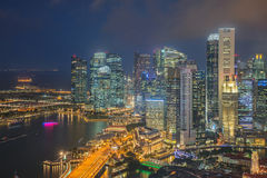 Financial district and business building in Singapore Stock Image