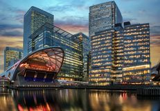 The financial district Canary Wharf. In London during sunset Stock Photo