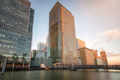 The financial district Canary Wharf in London, United Kingdom Stock Photos