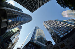 Financial district Central skyscrapers Hong Kong. Fisheye view of Central in Hong Kong Royalty Free Stock Image