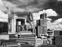 Financial District of the City of London - in black and white royalty free stock photography