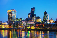 Financial district of the City of London. In the night Stock Images