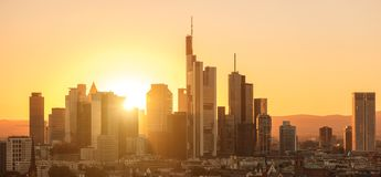 Financial district of Frankfurt at Sunset. View of the business district skyscaper skyline of Frankfurt at sunset. ideal for websites and magazines layouts Stock Photography