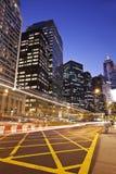 Financial district in Hong Kong at night Stock Photography