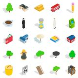 Financial district icons set, isometric style. Financial district icons set. Isometric set of 25 financial district vector icons for web isolated on white Stock Photography