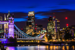 Financial District of London at Night royalty free stock image