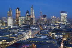 Financial district of London at night, England. Elevated view of Financial district of London at night,  England Royalty Free Stock Image