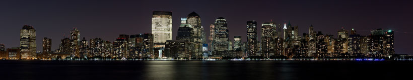 Financial District Manhattan at Night over Hudson Royalty Free Stock Images