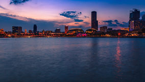 Financial district at Marina Bay, Singapore , twilight. SINGAPORE CITY, SINGAPORE - AUGUST 16, 2015: Cityscape of financial district and Esplanade theatre during Stock Photography