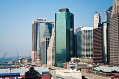 Financial district, new york city. A shot of downtown manhattan - financial district Royalty Free Stock Photo