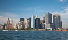 Financial district, new york city. A shot of downtown manhattan - financial district Royalty Free Stock Image