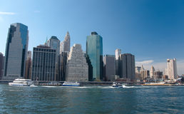 Financial district, new york city. A shot of downtown manhattan - financial district Royalty Free Stock Images