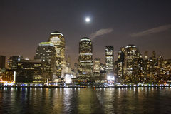 Financial District in New York illuminated Stock Photo