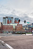 Financial District at North End Park Boston of America. Financial District at North End Park at Cross Street at downtown Boston, Massachusetts of America royalty free stock image
