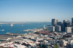 Financial district with the Oakland Bay Bridge and Embarcadero in the background, San Francisco, California Stock Images
