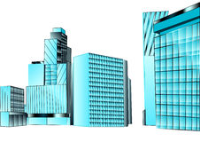 Financial district. Office building isolated on white Royalty Free Stock Images