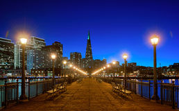 Financial district, Pier7, San Francisco, Californa, USA. Financial district, Pier7 at night, San Francisco, Californa,USA royalty free stock image
