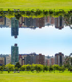 Financial District of Quito behind of Caolina park mirrored effect in the city of Quito Ecuador Royalty Free Stock Images