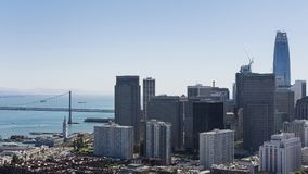 Financial District, San Francisco, California, USA - September 23,  2017. Views towards Oakland Bay bridge and part of financial district, downtown San Royalty Free Stock Images