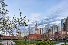 Financial District seen from North End Park Boston America. Financial District seen from North End Park at Cross Street at downtown Boston, Massachusetts stock images